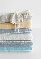 Barrydale Hand Weavers - Contemporary throw - variegated stripes - natural