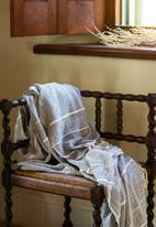 Barrydale Hand Weavers - Contemporary throw - variegated stripes - blue