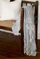 Barrydale Hand Weavers - Contemporary throw - variegated stripes - grey