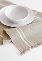 Barrydale Hand Weavers - Contemporary table runner - with stripes - stone