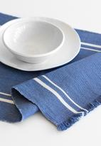 Barrydale Hand Weavers - Contemporary table runner - with stripes - blue