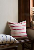 Barrydale Hand Weavers - Country cushion cover- stripes throughout - red & cream