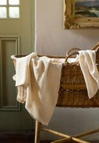 Barrydale Hand Weavers - Baby blanket - stripes throughout - natural