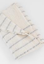 Barrydale Hand Weavers - Baby blanket - stripes throughout - grey & cream