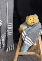 Barrydale Hand Weavers - Small contemporary towel - stripes on ends - charcoal
