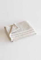 Barrydale Hand Weavers - Small contemporary towel - stripes on ends - stone