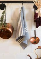 Barrydale Hand Weavers - Small contemporary towel - stripes on ends - indigo