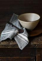 Barrydale Hand Weavers - Contemporary napkins- variegated stripes - charcoal set of 2