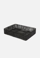 Sixth Floor - Mila tray with jute rim - black
