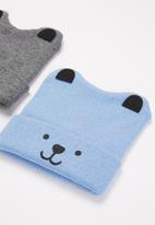 POP CANDY - Boys 2 pack character beanies - blue & grey