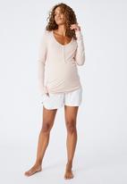 Cotton On - Sleep recovery maternity henley top - mushroom pinstripe