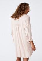 Cotton On - Sleep recovery maternity night shirt - mushroom pinstripe