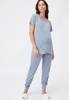 Cotton On - Sleep recovery maternity T-shirt - blue jay wash