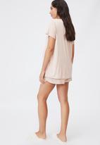 Cotton On - Sleep recovery maternity T-shirt - mushroom pinstripe