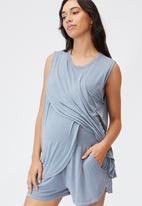 Cotton On - Sleep recovery maternity tank - blue jay wash