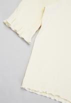 Free by Cotton On - Veronica rib trumpet sleeve top - dark vanilla