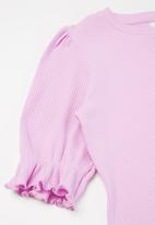 Free by Cotton On - Veronica rib trumpet sleeve top - pale violet