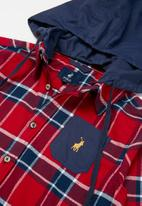 POLO - Boys Andrew hooded check shacket - red & navy
