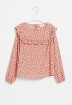 Superbalist Kids - Younger girls frill detail long sleeve blouse - pink