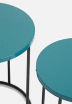 Sixth Floor - Metal set of two side tables - dark blue