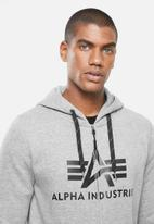 Alpha Industries - Alpha logo zip hoodie - grey melange
