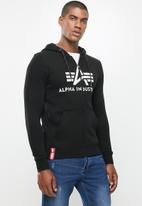 Alpha Industries - Alpha logo zip hoodie - black