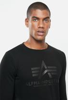 Alpha Industries - Alpha basic logo crew - black mono