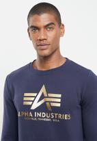 Alpha Industries - Alpha basic logo crew - navy & gold