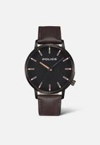 Police - Police leather strap watch - brown