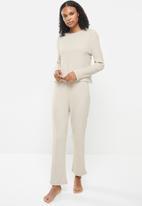 Superbalist - Soft touch rib sleep tee & wide leg pants set - beige