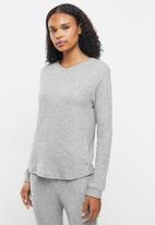 Superbalist - Soft touch rib sleep top & pants set - grey