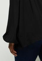 edit Plus - Soft ruffle detail blouse - black