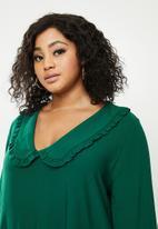 Blake - Peterpan collar tiered mini dress - emerald