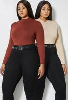 Superbalist - 2 Pack funnel neck viscose tops - rust & stone