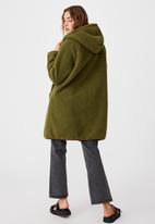 Cotton On - Into the trees longline coat - khaki