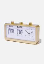 Typo - Retro flip clock-brushed gold