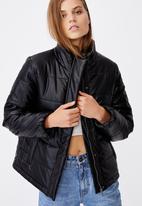 Cotton On - Vegan leather puffer jacket - black