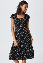 Cotton On - Woven cleo tie back midi dress - black
