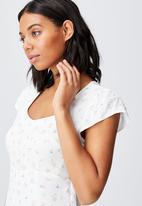 Cotton On - Woven cleo tie back midi dress - white