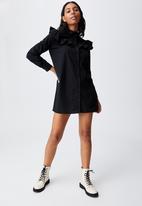 Cotton On - Woven Jade long sleeve ruffle shirt mini dress - black