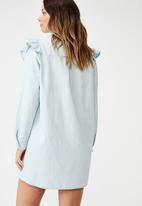 Cotton On - Woven Jade long sleeve ruffle shirt mini dress - blue