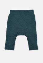 Cotton On - Emerson quilted trackpant - petrol teal