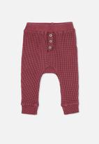 Cotton On - The waffle pant - faded burgundy