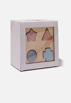 Cotton On - Wooden puzzle shape box - neutral