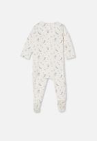 Cotton On - The long sleeve zip romper - vanilla & pale violet