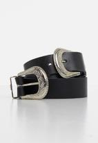 Superbalist - Wyomi double buckle belt - black