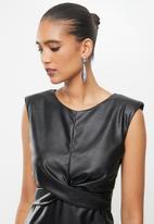 VELVET - Pu mini dress with cross over front detail - black