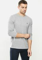 Original Penguin - Long sleeve embroidered logo t - grey