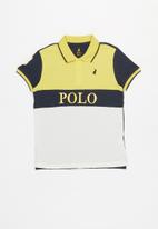 POLO - Boys Justin cut & sew short sleeve golfer - yellow & navy
