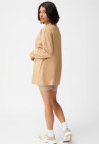 Cotton On - Basic oversized long sleeve top - caramel brown